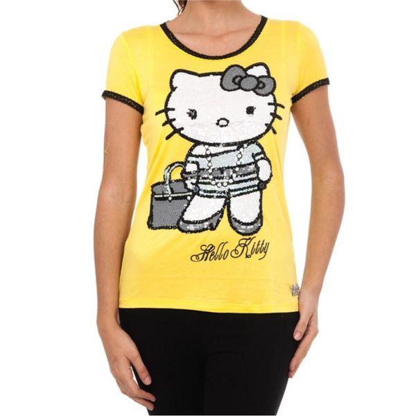 Dámské triko Hello Kitty žluté flitry