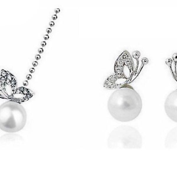 Elegantná sada náhrdelníku s náušnicami s perlou a kamienkami v striebornom prevedení s retiazkou o dĺžke 45 cm!