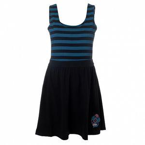 Dámske čierne šaty s modrými pruhmi 13 Cats