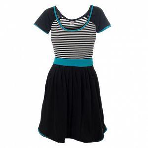 Dámské černo-bílé pruhované šaty Pussy Deluxe s modrými detaily