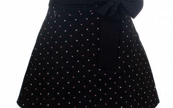 Dámska čierna bodkovaná sukňa s mašľou Pussy Deluxe