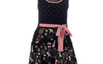 Dámske čierno-ružové šaty Pussy Deluxe s potlačou
