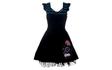 Dámske čierne party šaty s modrými pruhmi 13 Cats