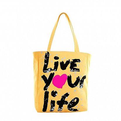 Dámská žlutá textilní taška Matt&Desy s potiskem