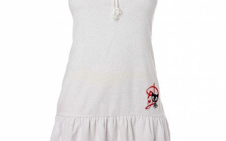 Dámske biele šaty s volánom Pussy Deluxe