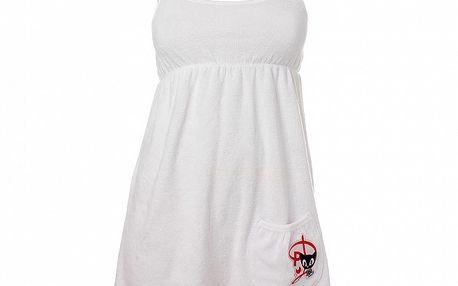 Dámske biele šaty Pussy Deluxe so špagetovými ramienkami a vreckom
