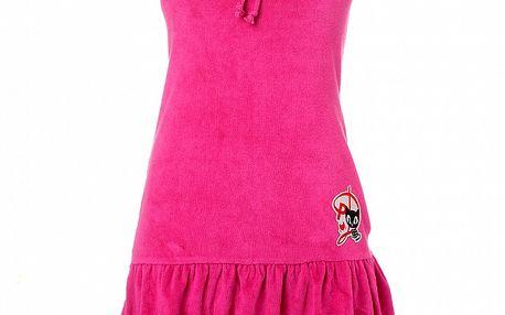 Dámske malinové šaty s volánom Pussy Deluxe