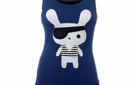 Dámské modré triko s pirátským zajdou Pussy Deluxe