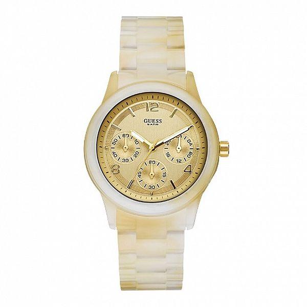 Dámske krémové hodinky so zlatými detailmi Guess