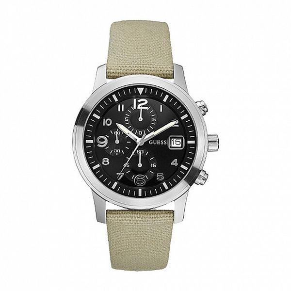 Pánské béžové analogové hodinky s černým ciferníkem Guess