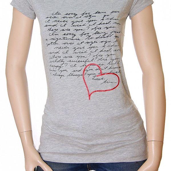 Dámské šedé tričko Matt&Desy s milostným dopisem
