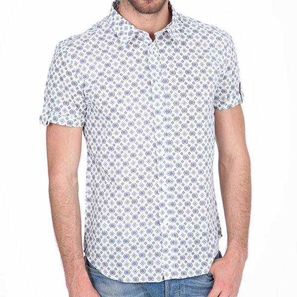 Bílá košile s černo-modrým potiskem
