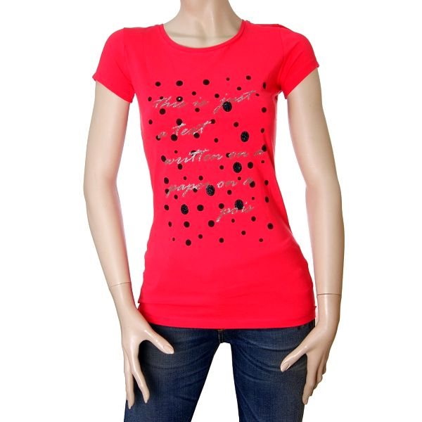 Dámské červené tričko Matt&Desy se stříbrným textem a puntíky