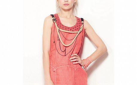 Dámske červené šaty Angels Never Die s retiazkami a špagátikom
