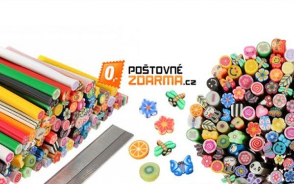 100 ks tyčinek z polymerové hmoty Fimo v různých motivech za skvělou cenu 239 Kč! POŠTOVNÉ ZDARMA ! Motýlci, smajlíci nebo kvítky... Ideální pro zdobení nehtů!