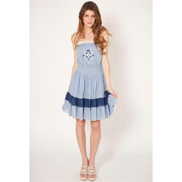 Dámské šaty Tantra modré bez ramínek