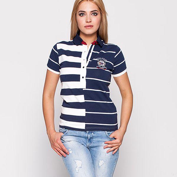 Modro-bílé proužkované polo tričko