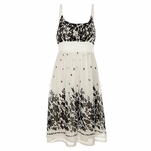 Dámské bílé šaty Uttam Boutique s černými kytičkami