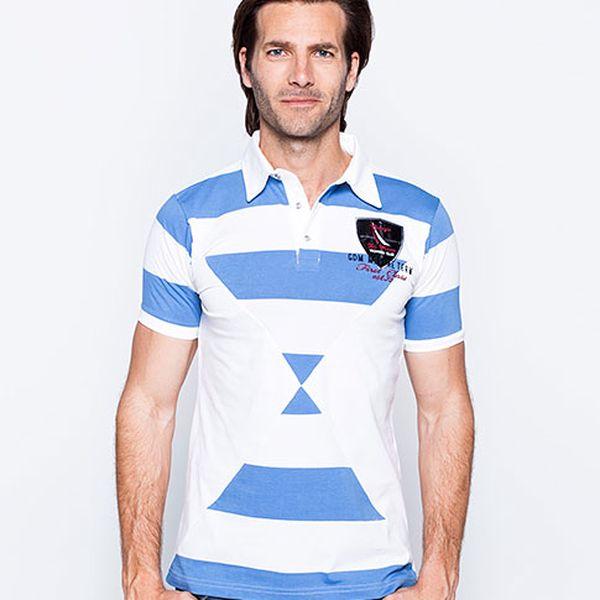 Bílo-modrá polo košile