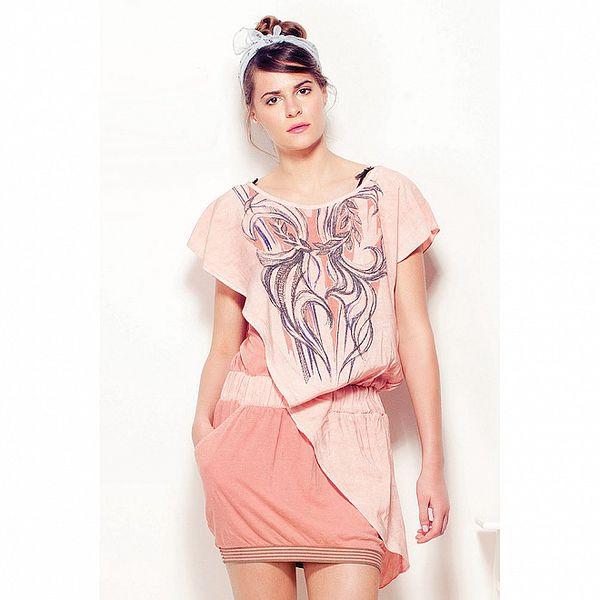 Dámske marhuľové šaty Angels Never Die s potlačou