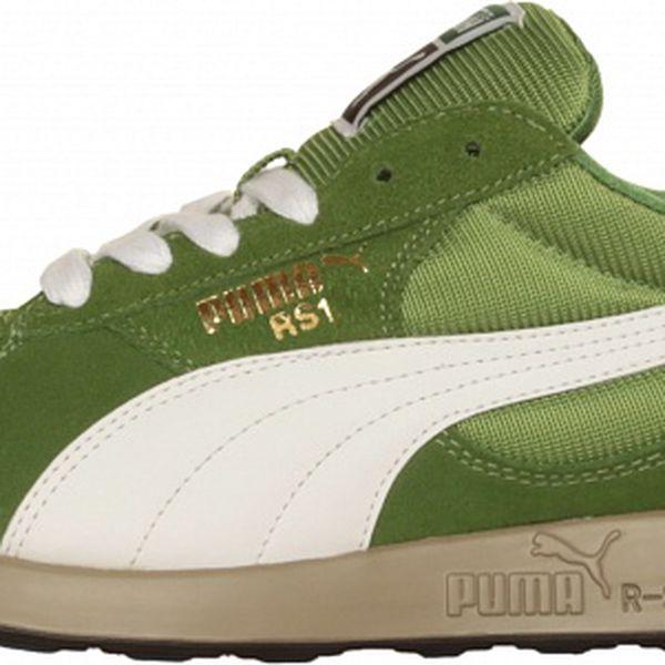 Pánské světle zelené tenisky Puma s bílým pruhem