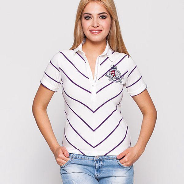 Bílé polo tričko s fialovými diagonálními pruhy