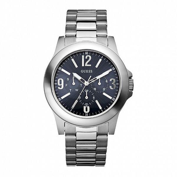 Pánske oceľové hodinky s modrým ciferníkom Guess