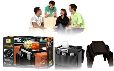 Hledáte stále ovladač k televizi, dvd přehrávači a set-top-boxu? S tímto pořadačem již nic hledat nemusíte, vše budete mít po ruce a uklizené. Navíc lze na pořadači odložit i občerstvení!
