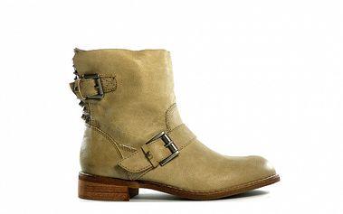 Dámské béžové nízké kozačky s přezkami Shoes in the City