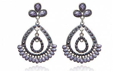 Dámské fialovo-stříbrné náušnice Beau M