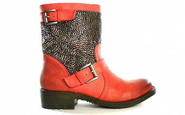 Dámské červené kovbojské kozačky s flitrovými korálky Shoes in the City