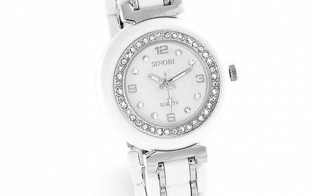 Dámské stříbrno-bílé hodinky se zirkony Sinobi