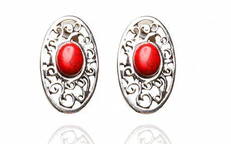 Dámské stříbrné filigránové náušnice s červenou perlou Beau M