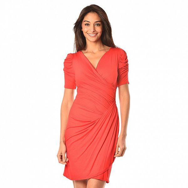 Dámske červené riasené šaty s balónovými rukávmi Boheme a Paris