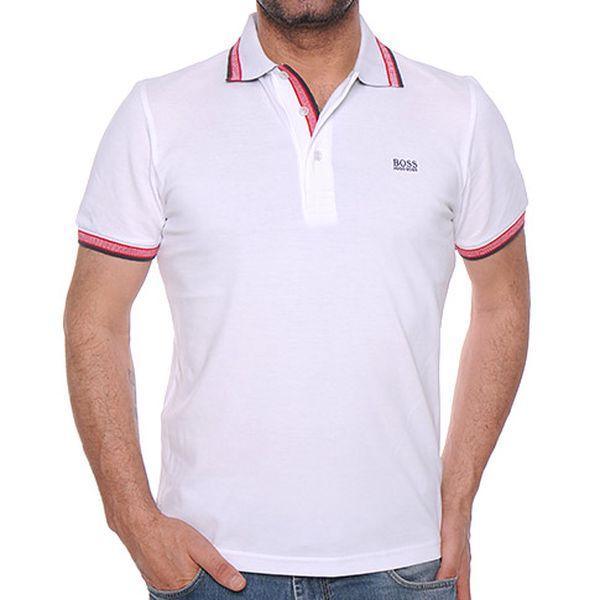 Bílé polo tričko s růžovými lemy