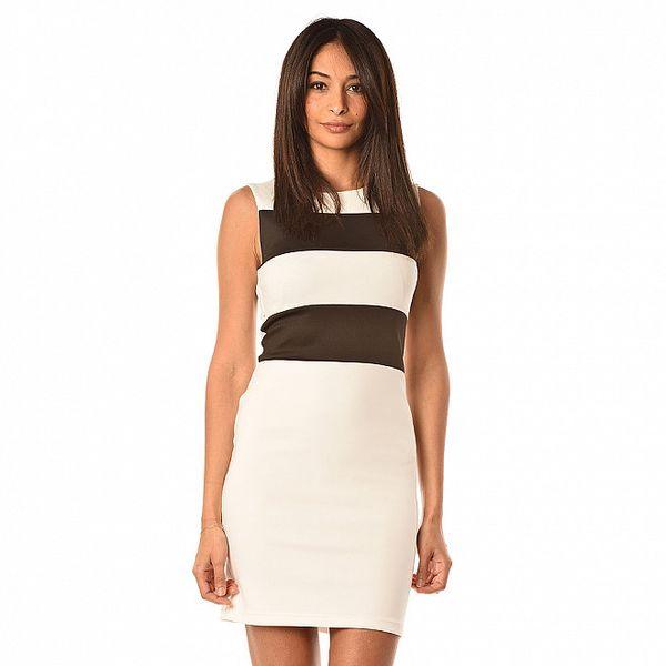 Dámske biele šaty s čiernymi pruhmi Boheme a Paris