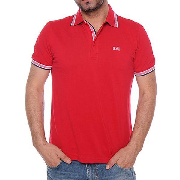 Červené polo tričko s proužky