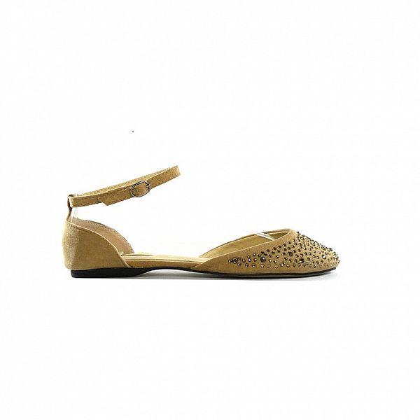 Dámské hnědo-béžové sandálky s kamínky Shoes in the City