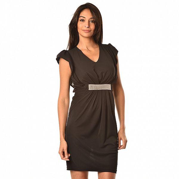 Dámske čierne spoločenské šaty so strieborným opaskom Boheme a Paris