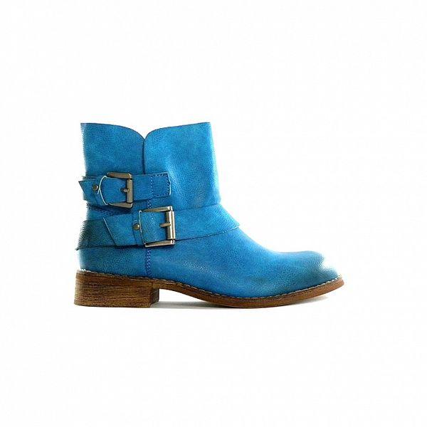 Dámské tyrkysové nízké kozačky Shoes in the City