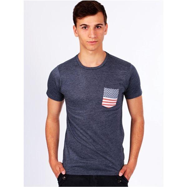 Pánské triko Brave Soul Omar modro-šedé