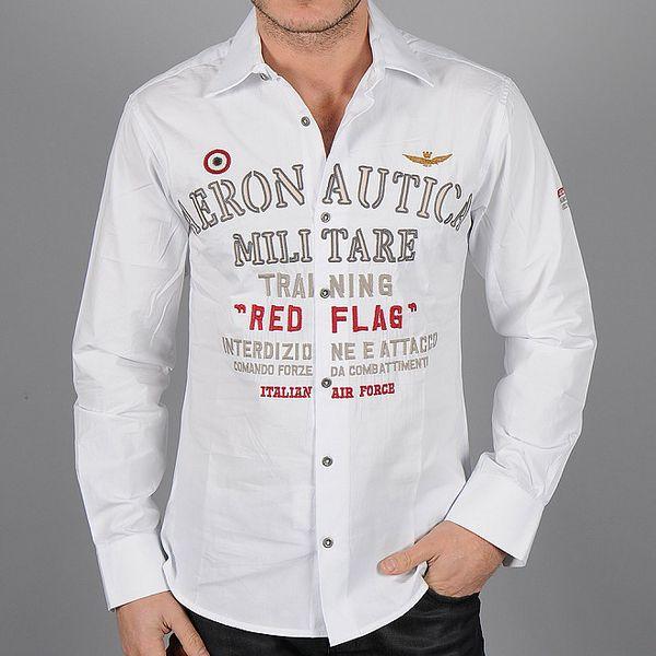 Pánská bílá košile Auronautica Militare s potiskem