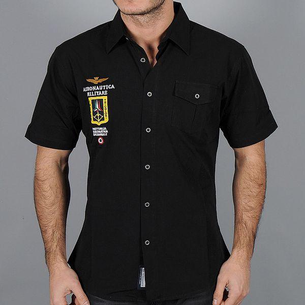 Pánská černá košile s nášivkou Aeronautica Militare