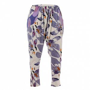 Dámské fialovo-bílé květinové kalhoty Savage Culture