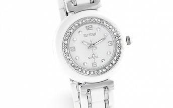 Dámske strieborno-biele hodinky so zirkónmi Sinobi