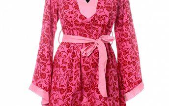 Dámská červeno-růžová tunika Savage Culture s květinovým vzorem