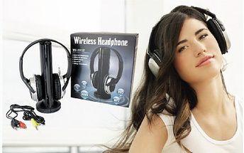269 Kč za bezdrátová sluchátka 5v1, které jsou kompatibilní se všemi MP3 přehrávači, televizory, počítači a DVD přehrávači! Vynikající prostorový zvuk a výrazné basy pro dokonalý zvuk!