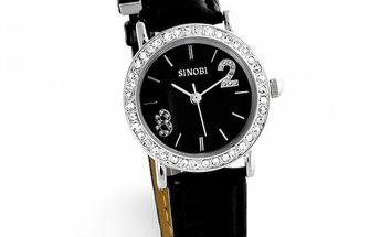 Dámske čierne hodinky Sinobi s bielymi zirkónmi