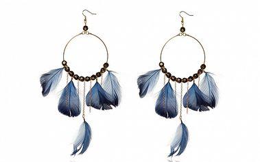 Dámske zlatavé náušnice s modrými perličkami Beau M