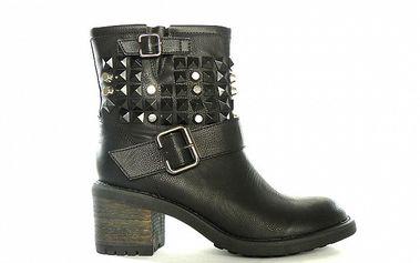 Dámske čierne nízke čižmy s cvočkami a prackami Shoes in the City